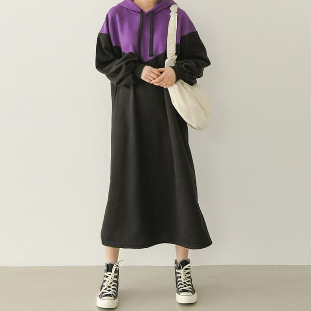 Long Dress with Raised Puff Color Fleece-lined Inside