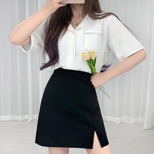 stitch pocket short sleeve shirt