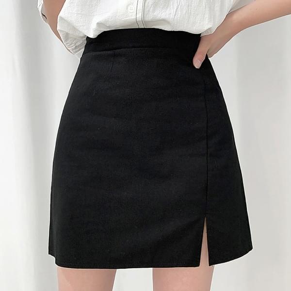 Cotton side slit banding skirt