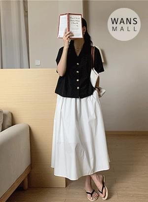 sk4937 pure flare banding long skirt