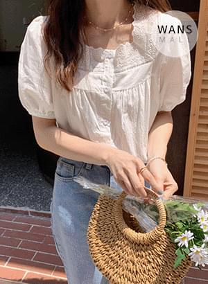 bl4938 Odell Lace Square Neck Short Sleeve Blouse