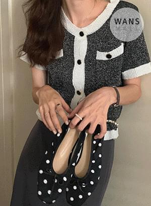 cd4940 Tannessy Tweed Color Short Sleeve Cardigan