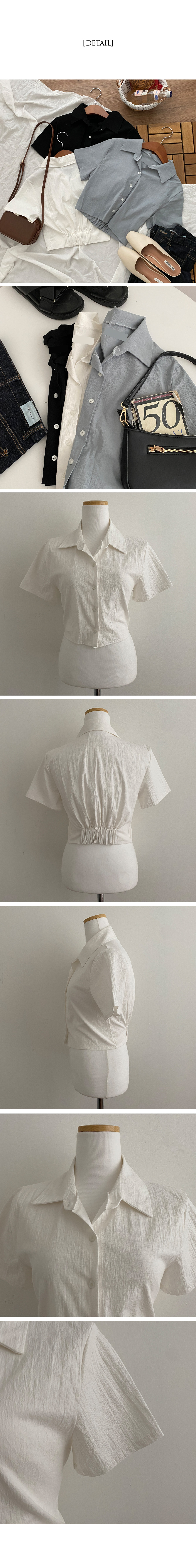 Sheath Back Banding Crop Shirt Shirt