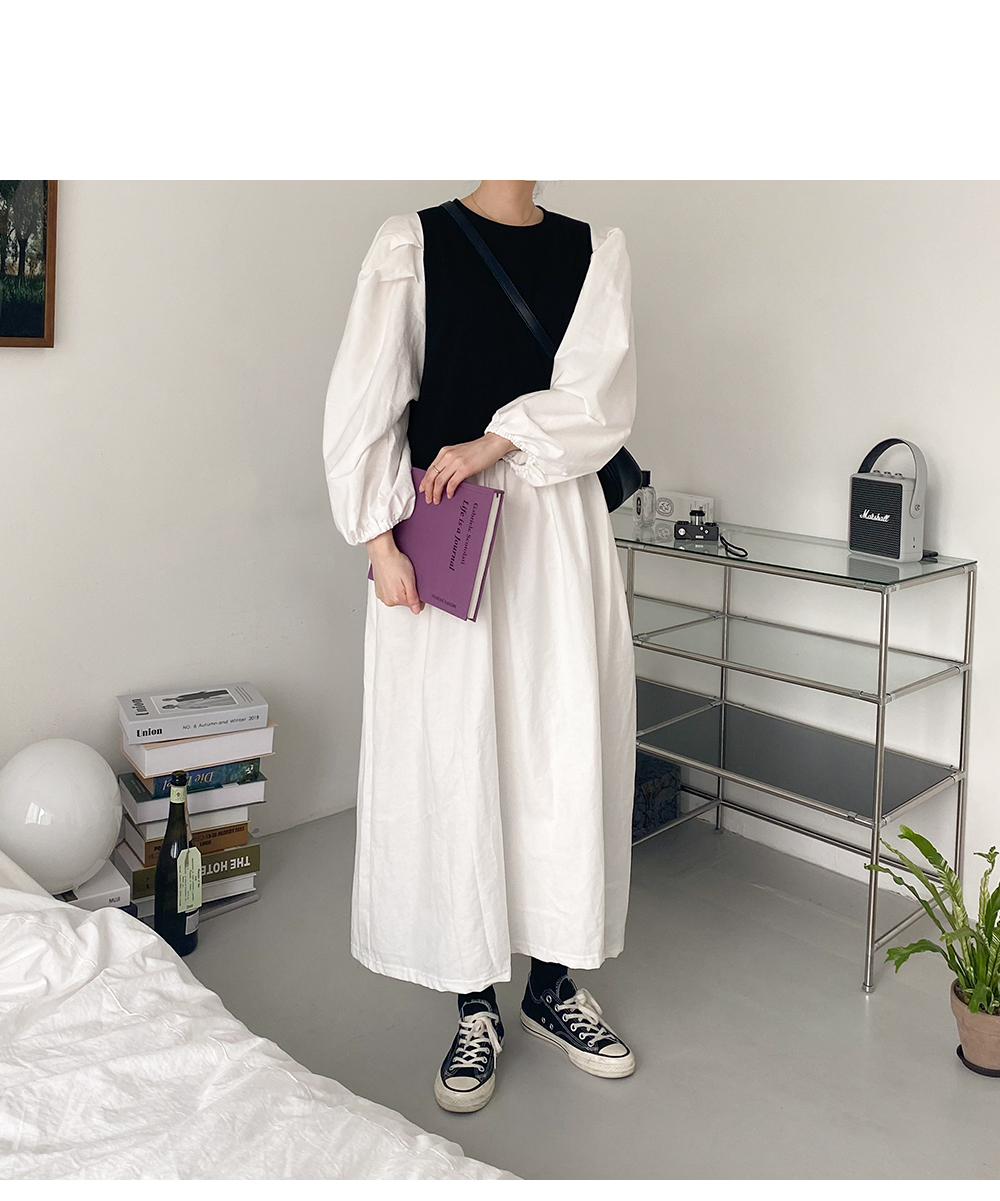 Big Size 55-88 Chewing Color Layered Long Dress