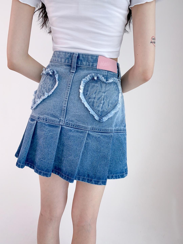 Heart Glitter Crop Top Heart Pleated Denim Skirt (Blue)