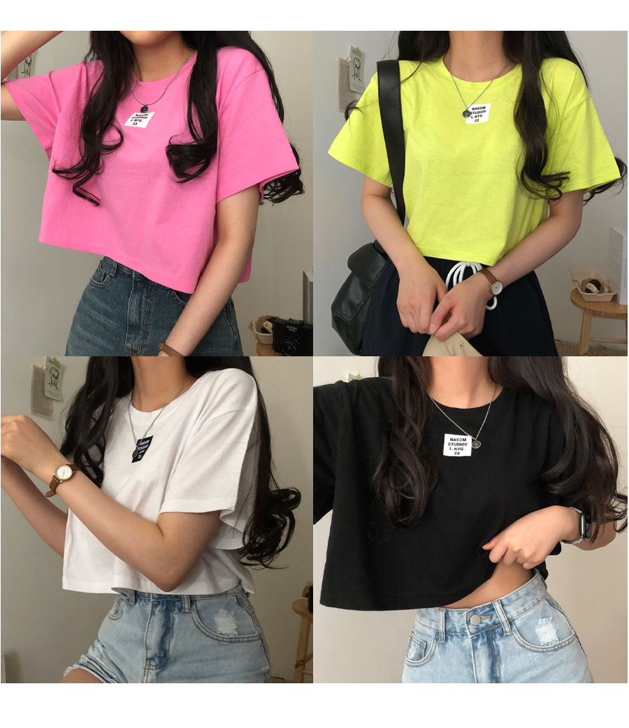 neon patch cropped short sleeve T-shirt