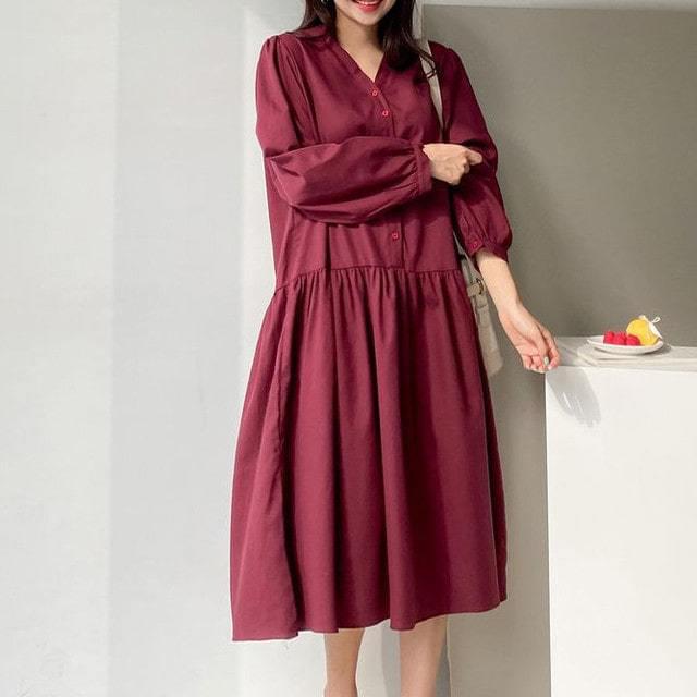 V-Neck shirt ruffle shirring midi long Dress big size chest measurement 124