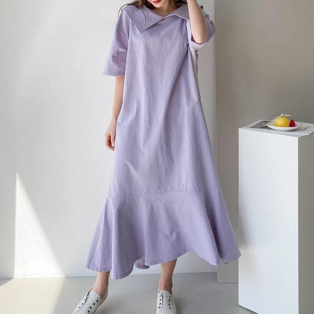 Bio Faded Linen Sailor Collar Long Dress Big Size Bust 124
