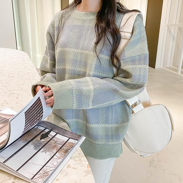 Big Size 66-120 Loose-fit Fit Color Matching Tweed Knitwear