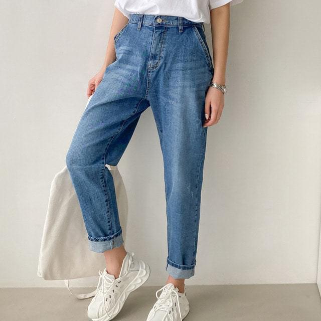 Blue blue diagonal Baggy Spandex jeans big size L-2XL 28-34 inch