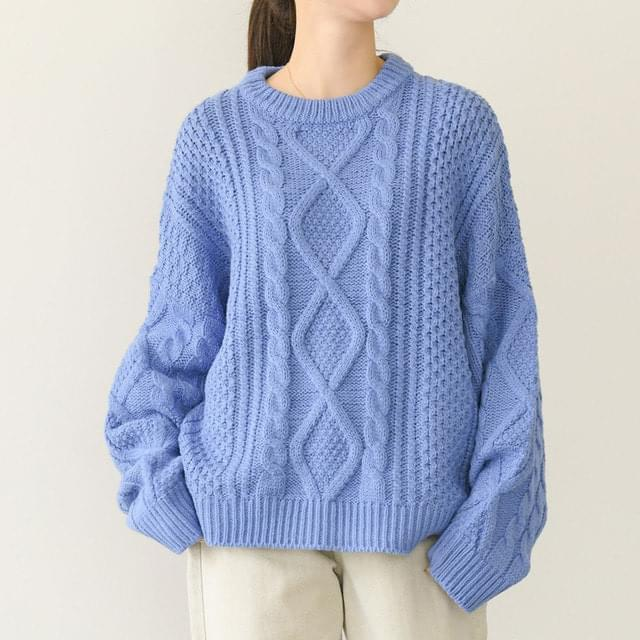 Wool Cable Twisted Round Knitwear