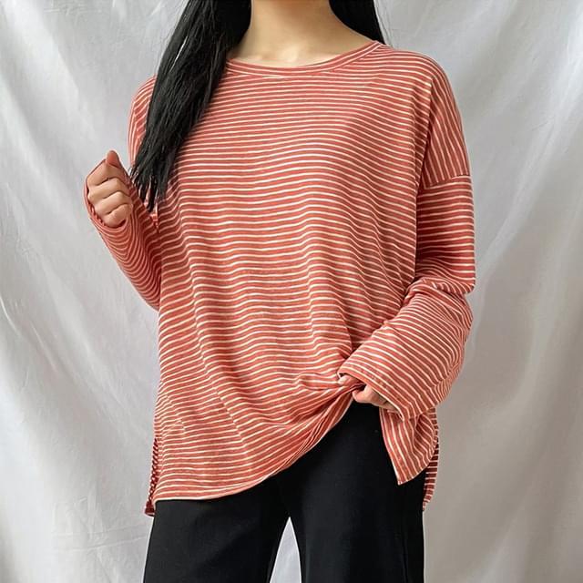 Big 55-99 Maron Loose-fit Fit Striped T-shirt
