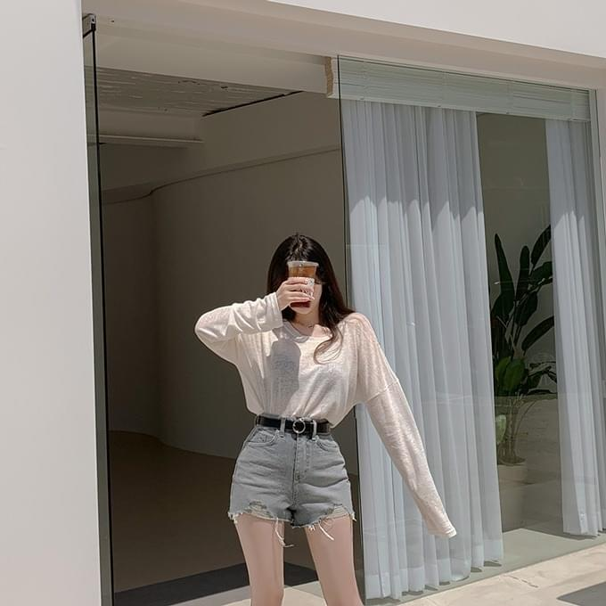 Over 1,000 copies Everyday Hinique Summer Linen Round Long Sleeve T-shirt