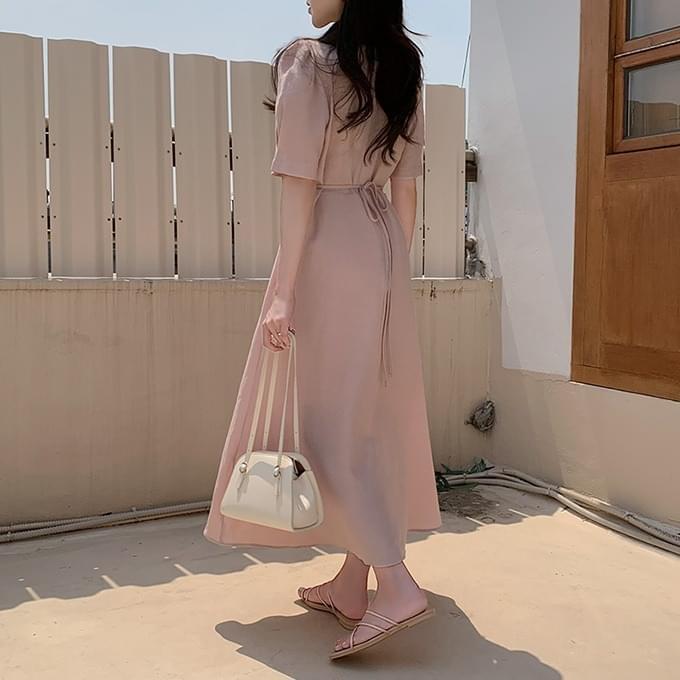 Erinne V-Neck Wrap Pintuck Puff Sleeve Waist Strap Short Sleeve Long Dress