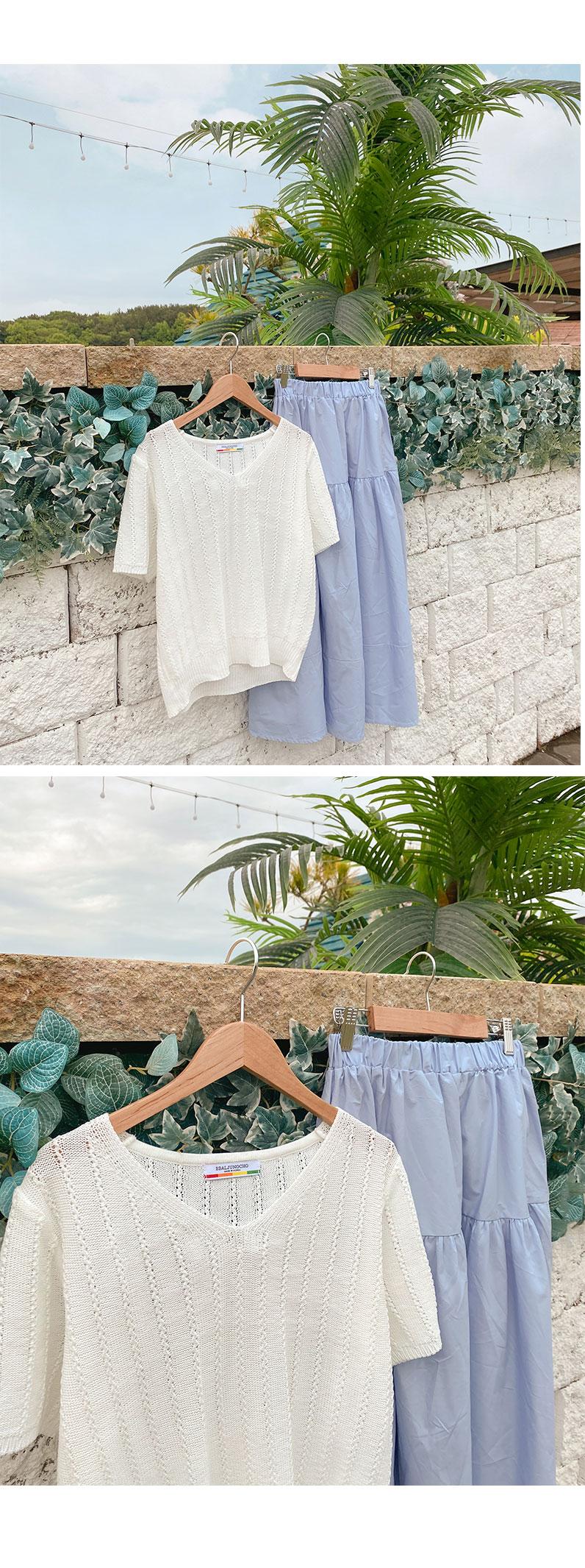 V-Neck Short Sleeve Knitwear