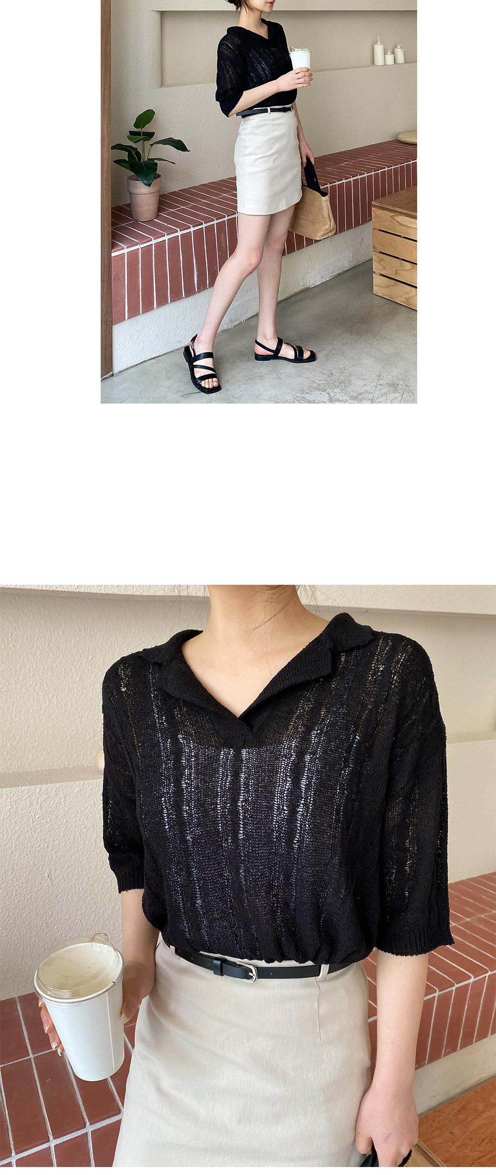 Big Size 55-88 Hold Collar Half Knitwear