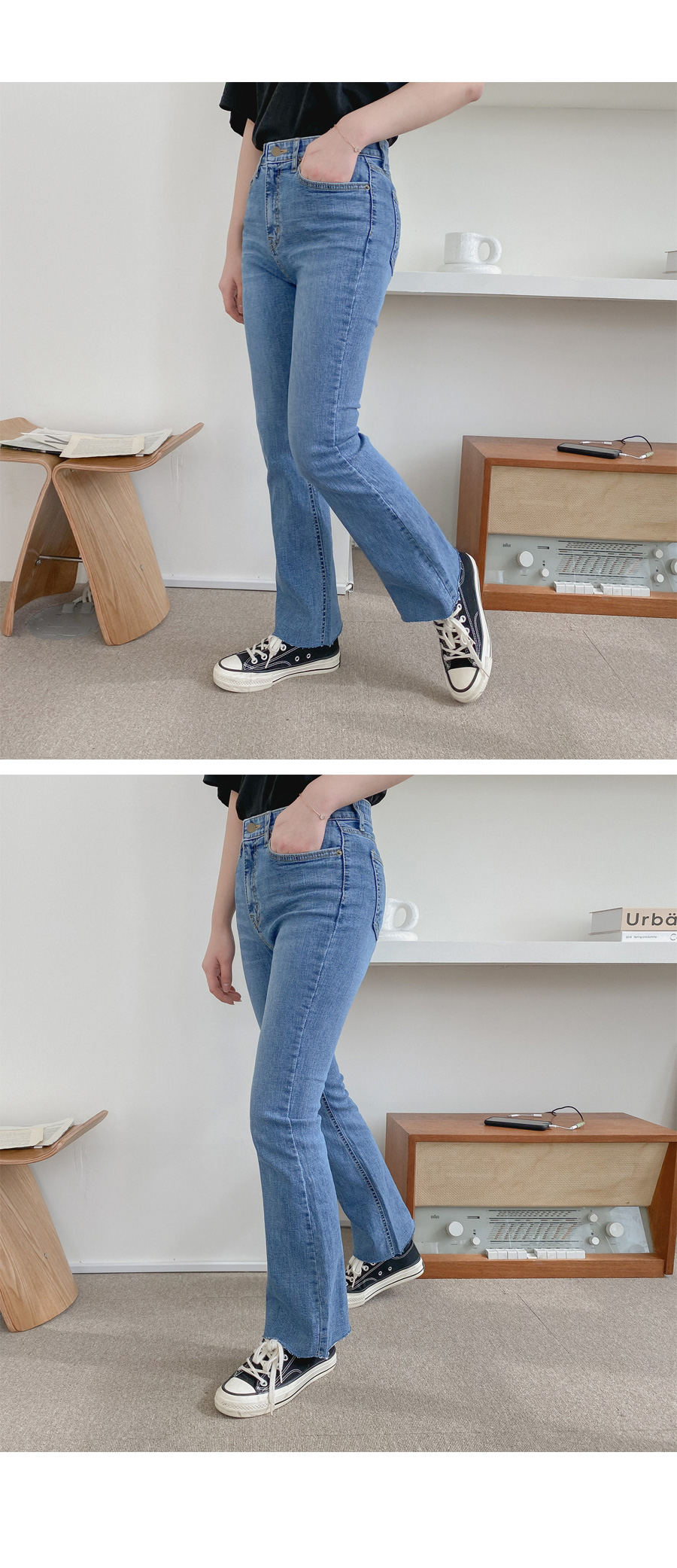 Big size 26-38 inches Terry hidden banding Flared denim pants