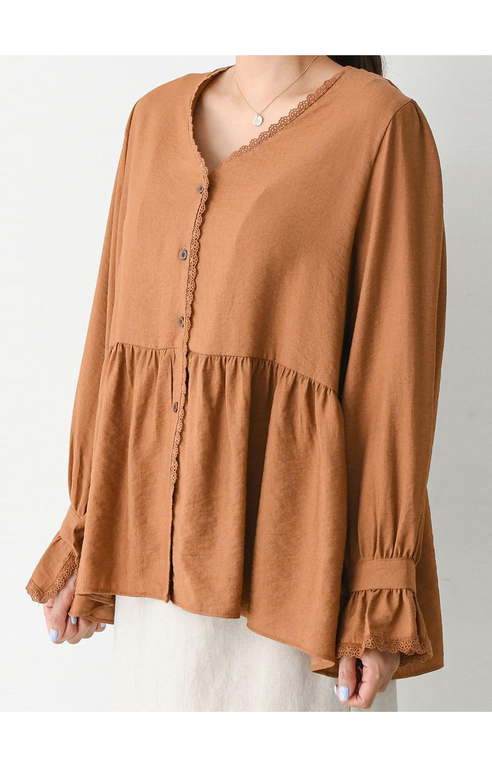 V-Neck lace puff blouse big size 66-120
