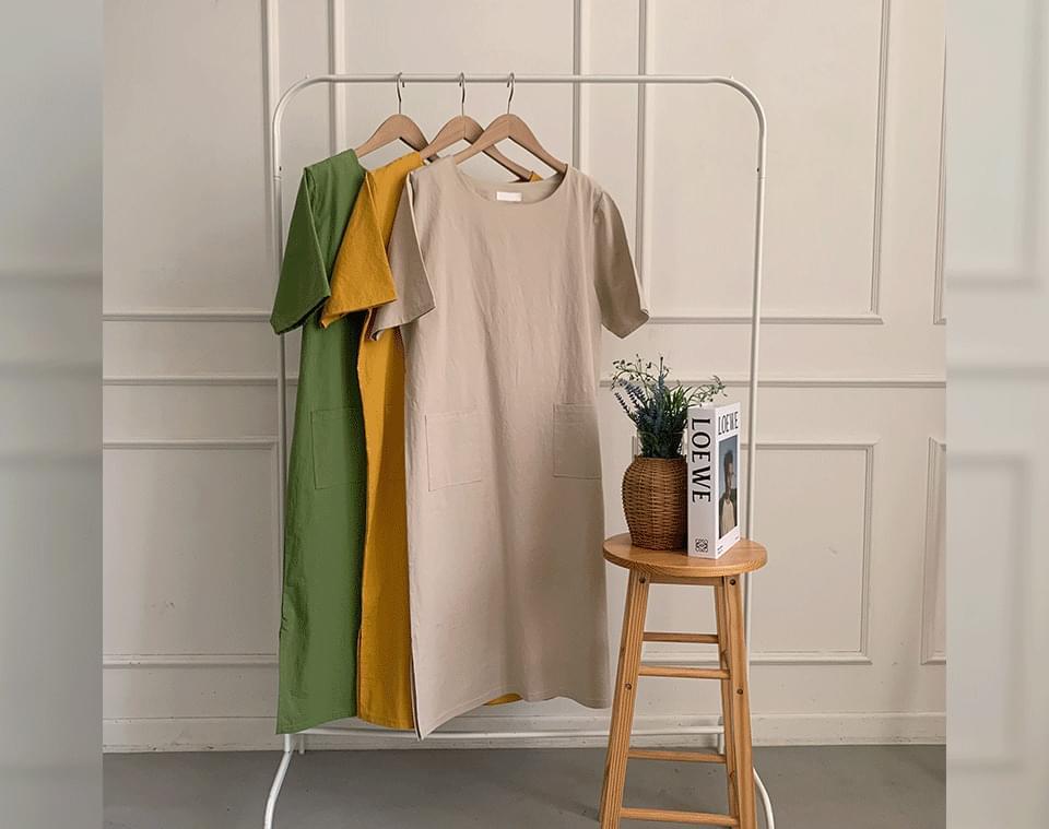 Erindi round neck side slit pocket long Dress