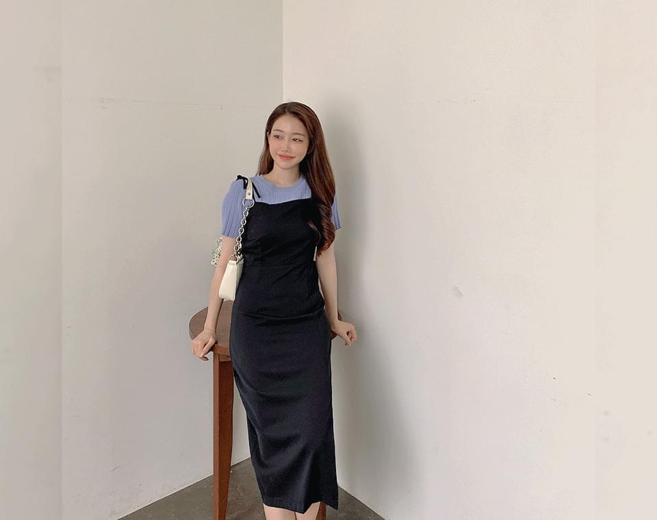 Abbey Ribbon Split Bustier Long Dress