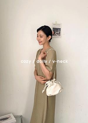 Daytem V-Neck neck Long Dress with Split Back