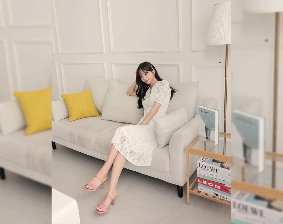 Claudine V-Neck Lace Button Long Dress
