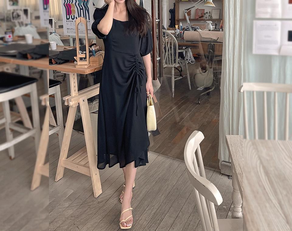 Seypin Square Neck Shirring Long Dress