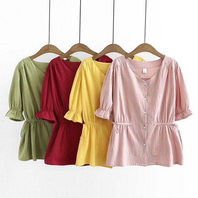 Puff Sleeve Waist Shirring Short Sleeve Shirt Blouse Big Size XL-4XL 77-120