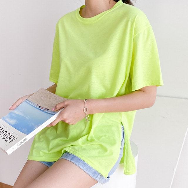 Side Slit Neon Round Neck Cotton T-shirt Big Size Bust 120