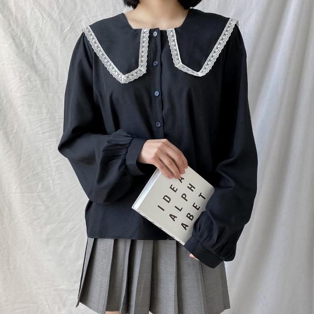 Big Size 55-120 Drawing Square Sera Loose-fit Fit Blouse