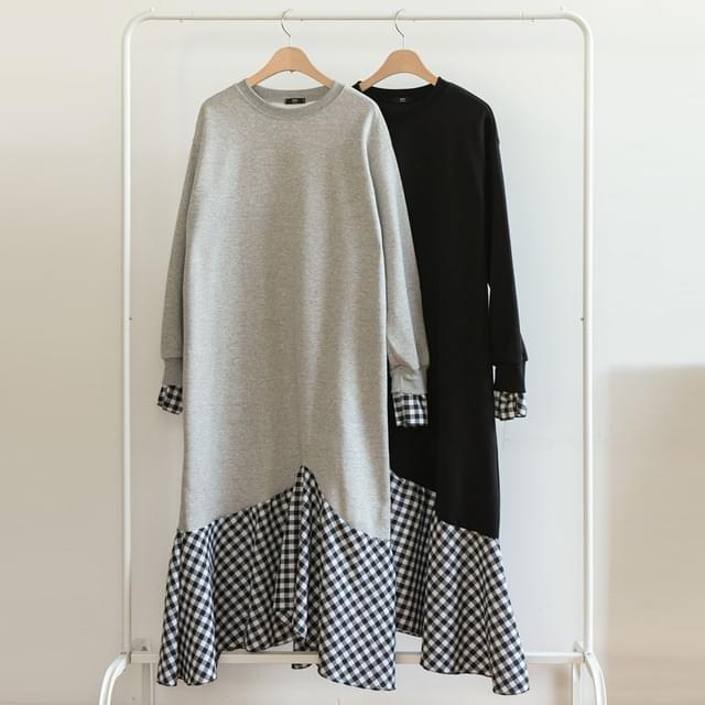 Inner Fleece-lined unbalanced check long Dress