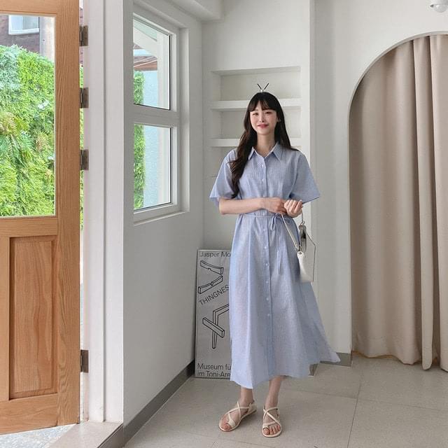 55-88 line collar strap long Dress