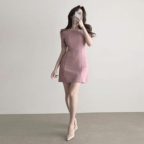 Straight Short Sleeve Spandex Puff Square Neck Dress 3color