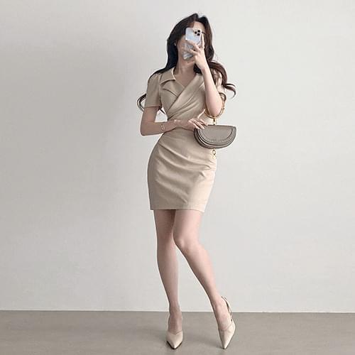 Straight V-Neck Spandex Collar Wrap Dress 2color
