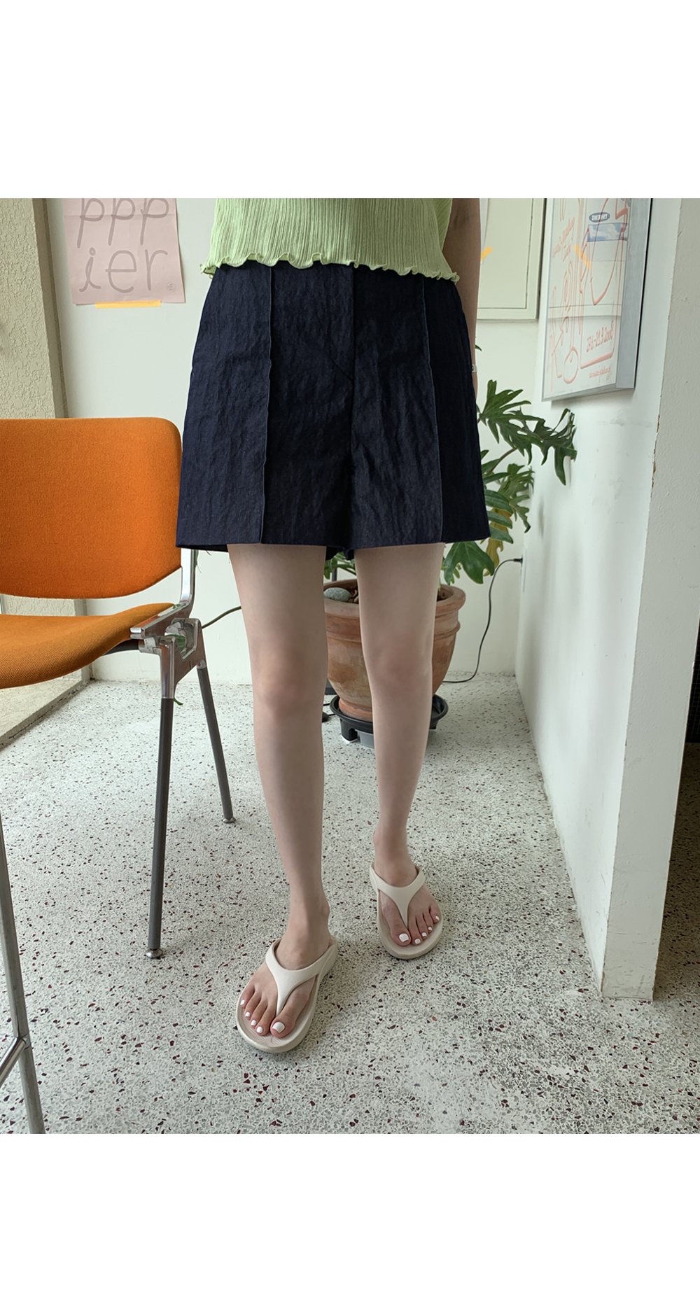 roman pintuck shorts