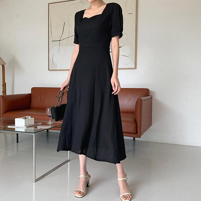Heart Neck Linen Dress with Atmosphere 長洋裝