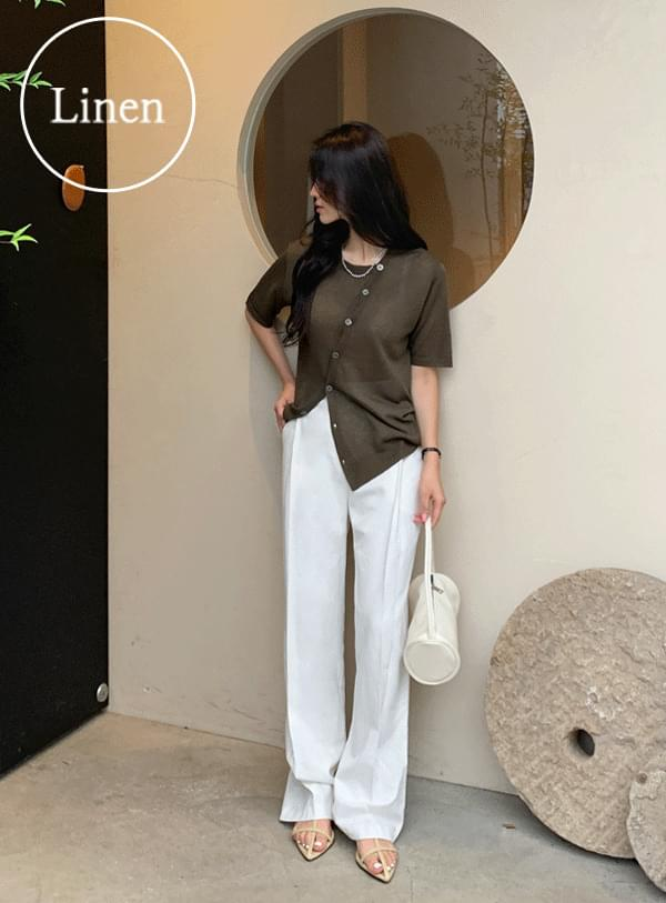 Diagonal Short Sleeve Knitwear