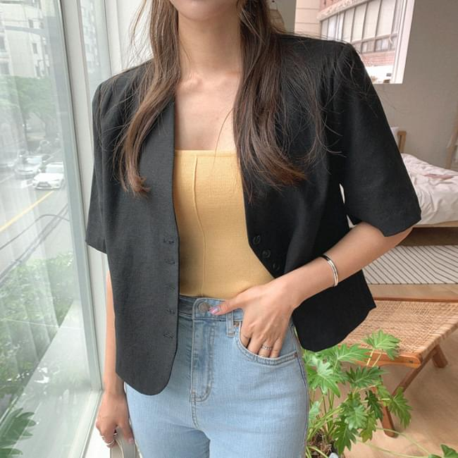 Linen best short sleeve jacket