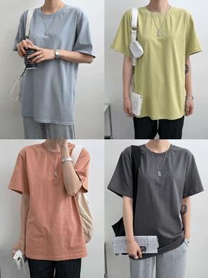 Pastel color plain short sleeve tee