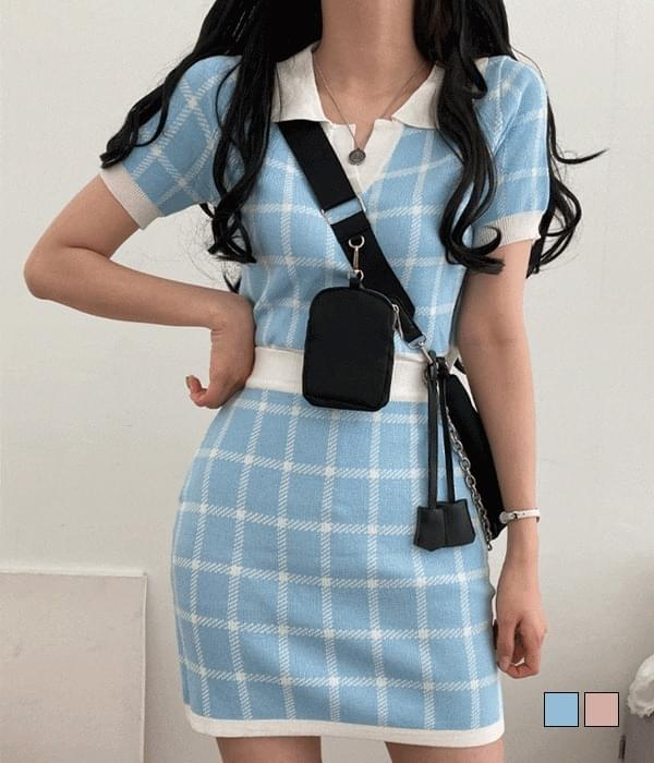 All Hour Plaid Check Knitwear Skirt Two Piece