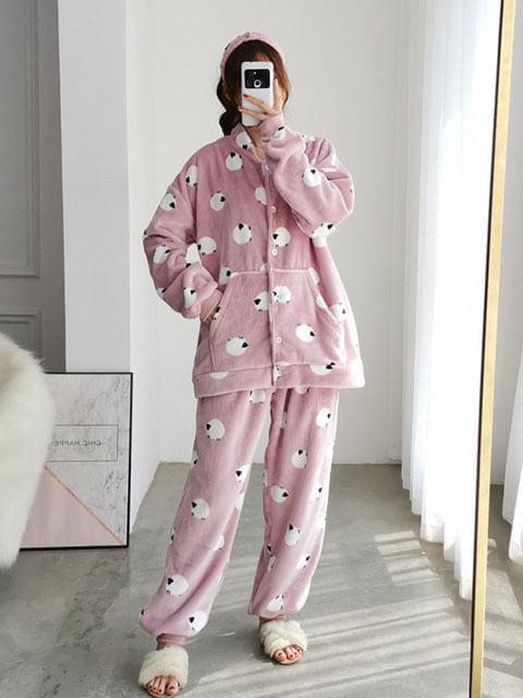 Fluffy Ram Microfiber Collar Shirt Sleep Pajamas Set Big Size 3XL-5XL 77-140
