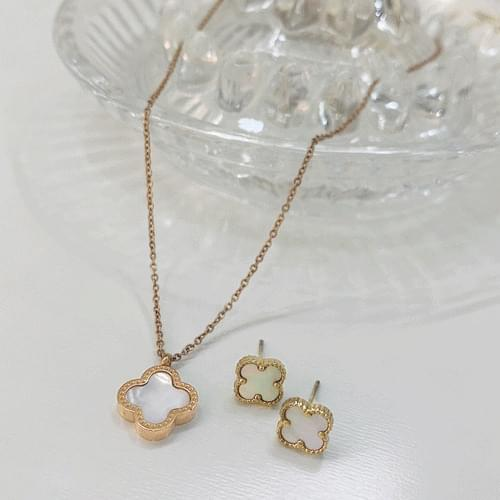 Double-sided Vancle st Clover Necklace Earring Set A#YW039