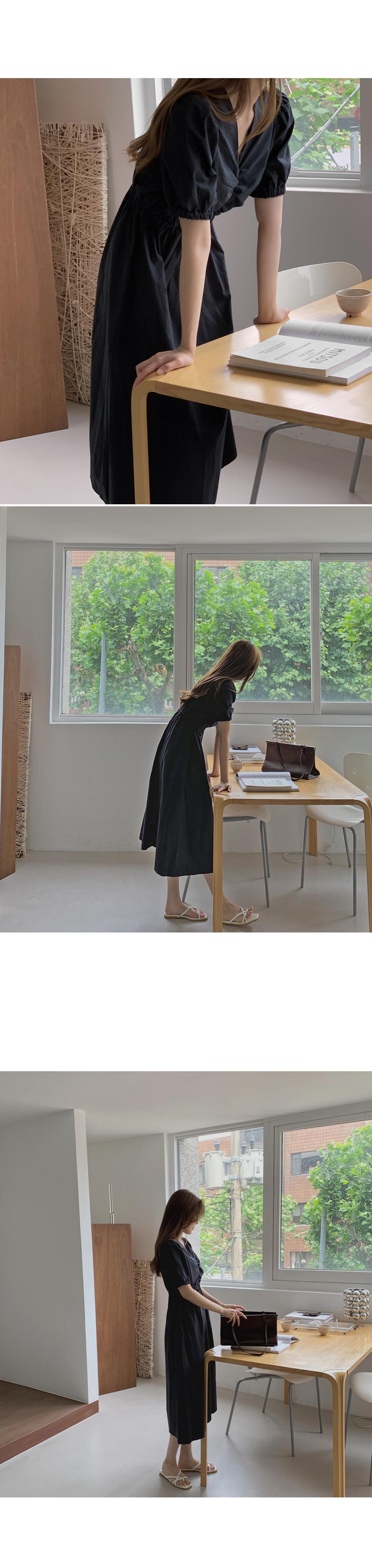 Mering Butterfly Shirring V-Neck Long Dress - 3 color