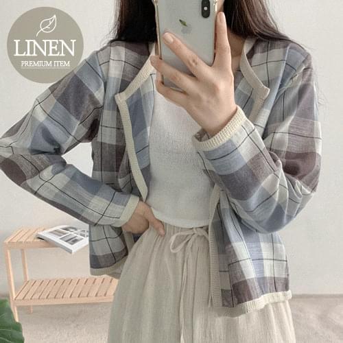 Leon Check Linen Cardigan