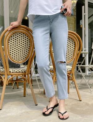 Laura Slim Fit Damaged Denim Pants