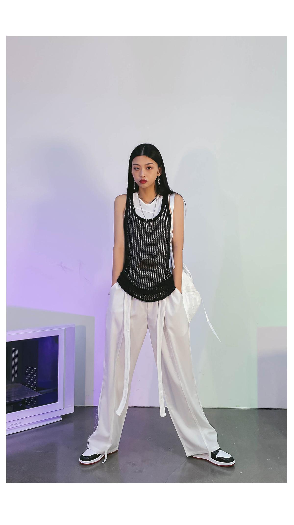 Back Ribbon Jewel Net Knitwear