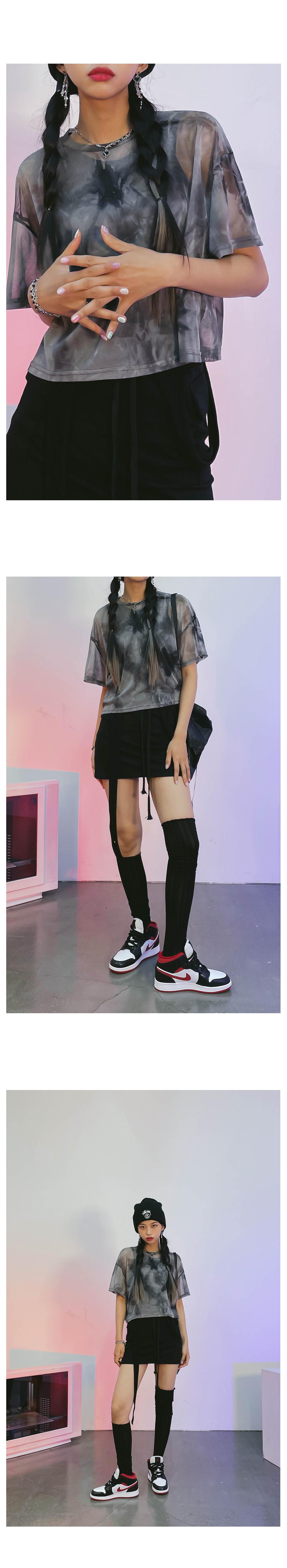 tie-dye duel see-through T-shirt
