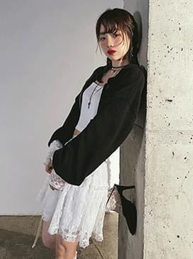lace robe cropped sleeveless