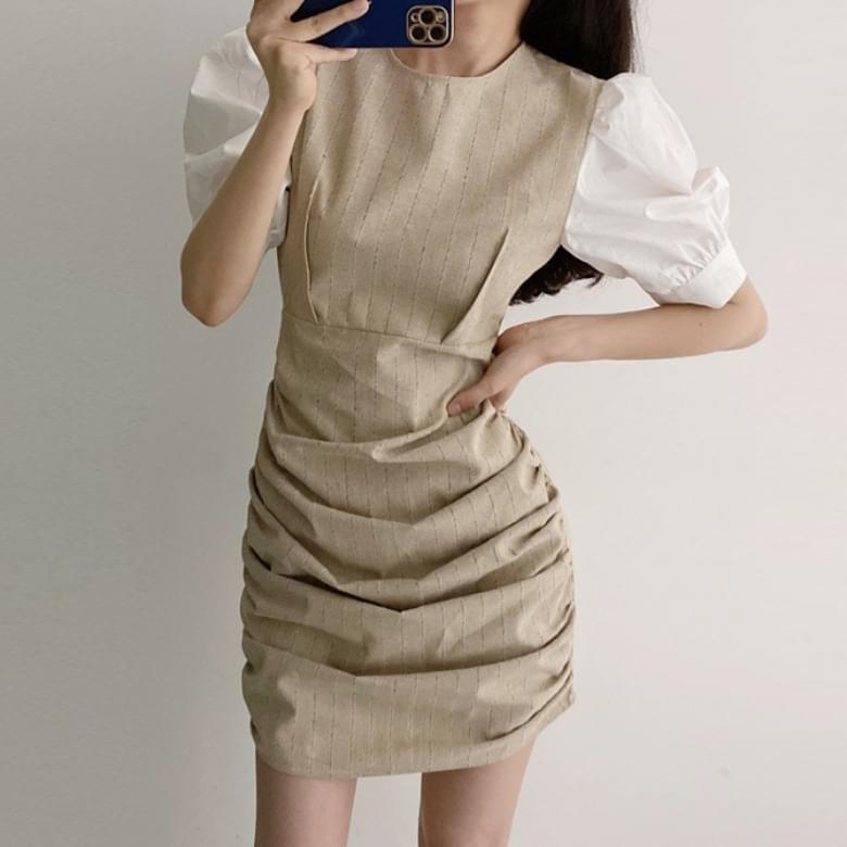 Striped Shirring Color Puff Sleeve Dress