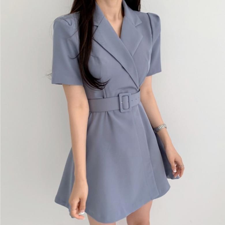 Stylish office collar A-line belt Dress